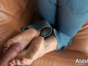 Ala - Blonde MILF Footjob in..