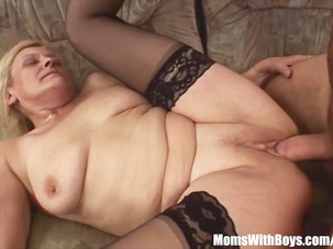 Blonde Old Mama In Stockings..