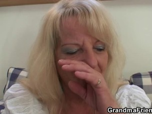 Blonde old granny swallows two..