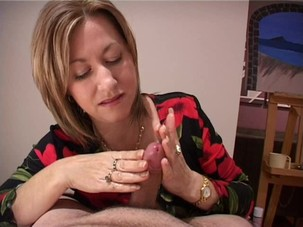 Dark haired mature hand job vids