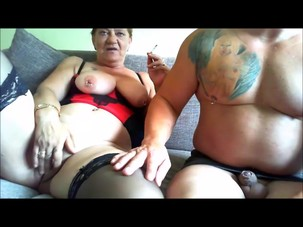 Chubby smoking mature couple