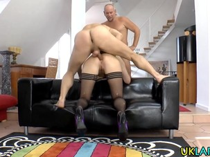 Stockings ho gets jizzed