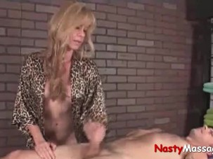 Gorgeous milf handjob salon